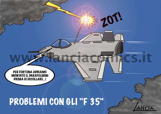 F 35 con fulmini