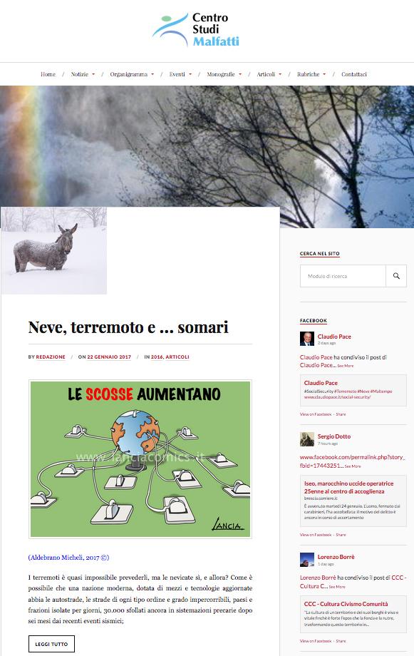 """""""Scosse terrestri"""" su Centro Studi Malfatti"""